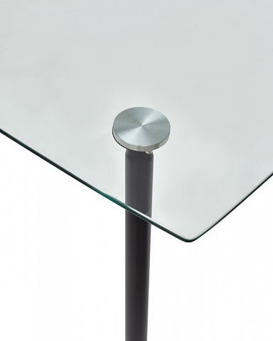Стол RON 120 прозрачный М-City (обеденный, кухонный, для гостиной), Материал каркаса: Металл, Цвет каркаса: Серый, Материал столешницы: Стекло закаленное, Цвет столешницы: Прозрачный, Цвет: Серый