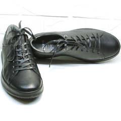Стильные черные кроссовки кеды из натуральной кожи весна осень Ikoc 1725-1 Black.