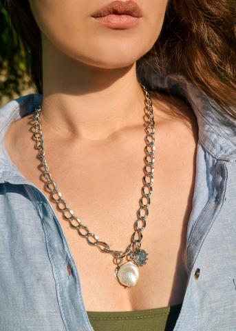 Ожерелье в виде цепи с жемчугом Angelo серебристое