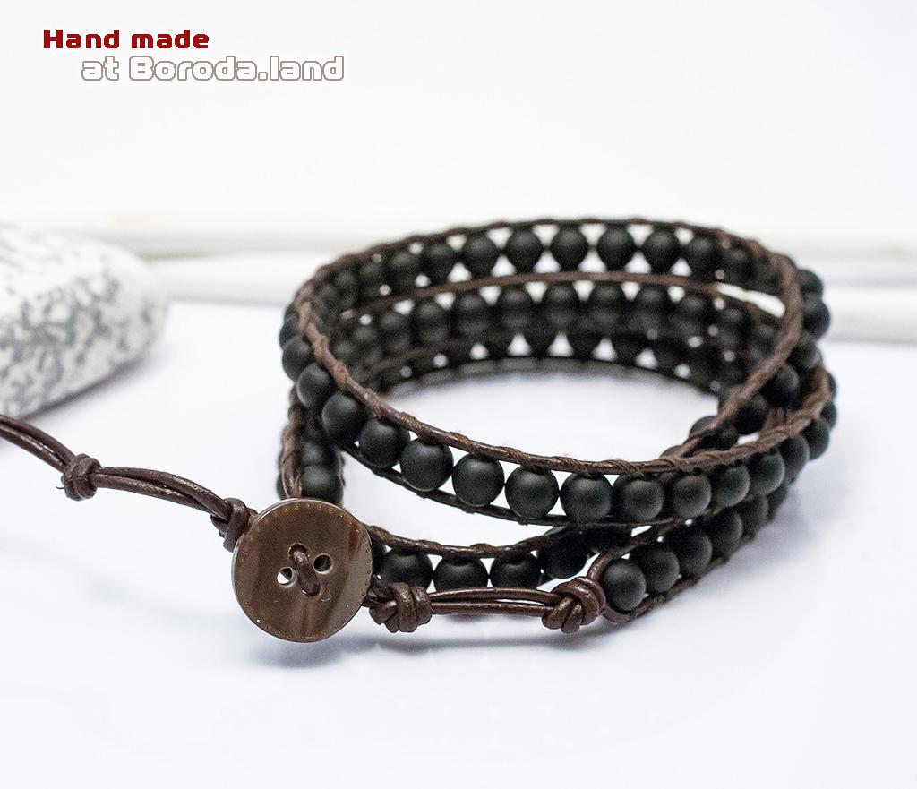 BS542-1 Мужской браслет «Чан Лу» ручной работы на кожаном шнуре, шунгит. «Boroda Design» фото 03
