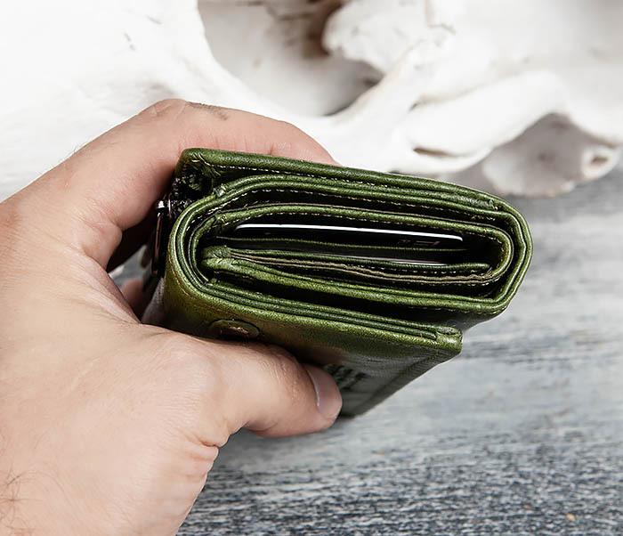 WL299-4 Зеленый кожаный кошелек с монетницей фото 16