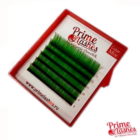 Ресницы Prime Lashes темно-зеленые, микс 6 линий