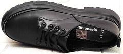Кожаные туфли на шнурках женские Marani magli M-237-06-18 Black.