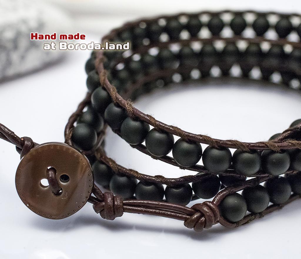 BS542-1 Мужской браслет «Чан Лу» ручной работы на кожаном шнуре, шунгит. «Boroda Design» фото 04