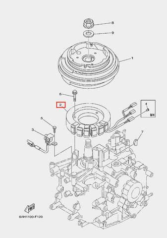 Катушка генераторная в сборе для лодочного мотора F20 Sea-PRO (11-2)