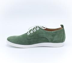 Зеленые  кожаные полуботинки на низкой платформе