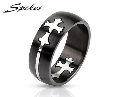 R-M2445-8 Мужское кольцо «Spikes» черного цвета со вставкой крестом