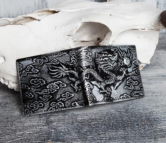 WL293-1 Необычный мужской кошелек из натуральной кожи с драконом фото 10