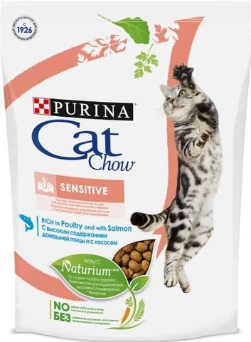 15 кг. PURINA CAT CHOW Сухой корм для кошек с чувствительным пищеварением с лососем и рисом Sensitive