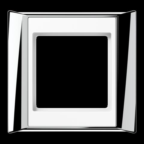 Рамка на 1 пост. Цвет Хром-белый. JUNG A PLUS. AP581GCRWW
