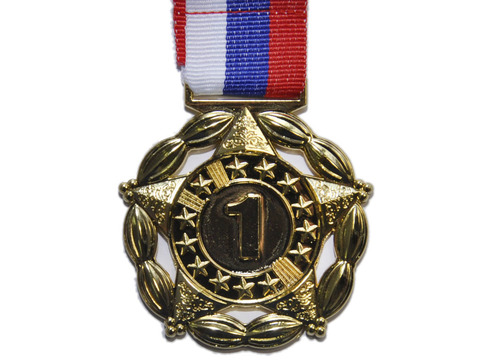 Медаль двусторонняя с лентой (триколор), 1 место. Диаметр медали 5 см, толщина медали 2 мм. Вес медали с лентой 30 г. Длина ленты 41 см, ширина ленты 2,5 см. 1904-1