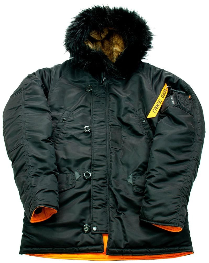 Куртка Аляска  N-3B  Husky Denali 2017 (черная - black/orange)
