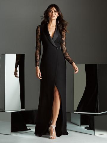 Вечернее платье классическое черное в стиле смокинга