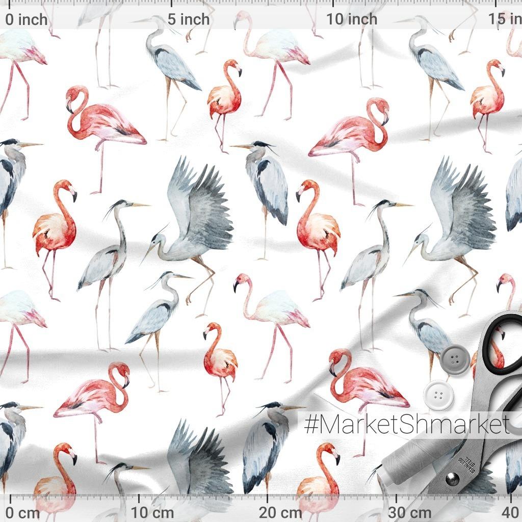 Розовый фламинго и Серая цапля