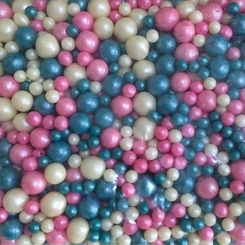 Посыпка сахарная ШАРИКИ РАЗНОГО ДИАМЕТРА 50гр МИКС 174 (розовый\т.бирюзовый\жемчуг)