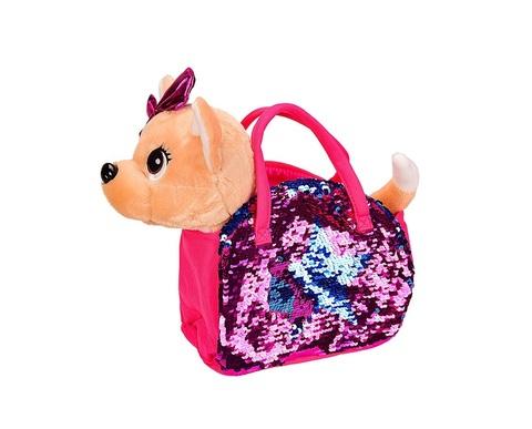 Собачка на поводке с сумкой в пайетках