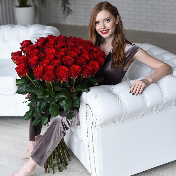 Купить высокие длинные розы Пермь красные 51 доставка на дом заказ онлайн