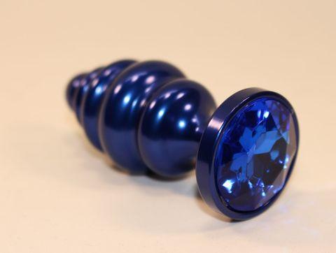 Синяя рифлёная пробка с синим кристаллом - 7,3 см.