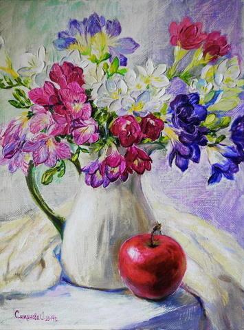 Картина раскраска по номерам 50x65 Натюрморт с яблоком