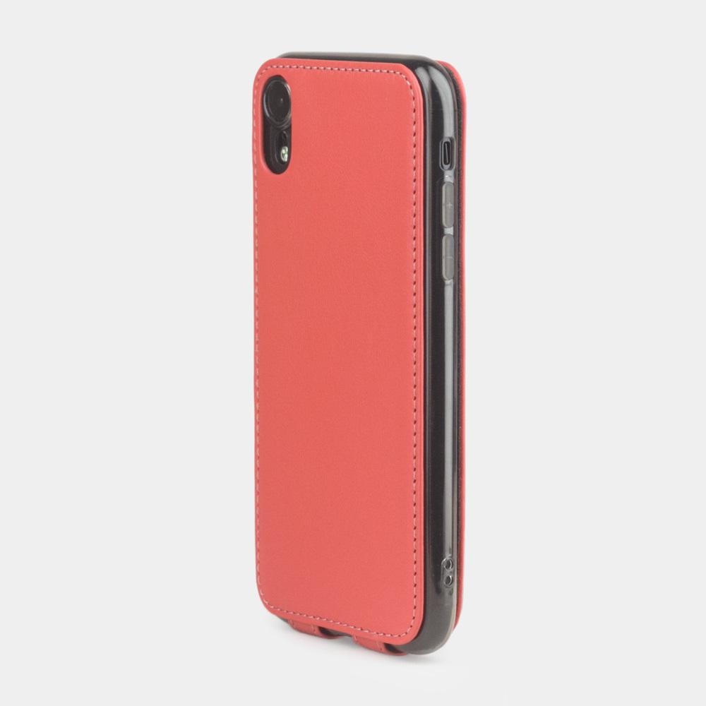 Чехол для iPhone XR из натуральной кожи теленка, кораллового цвета