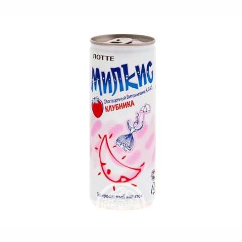 Напиток газированный Милкис клубника 250мл Lotte Корея