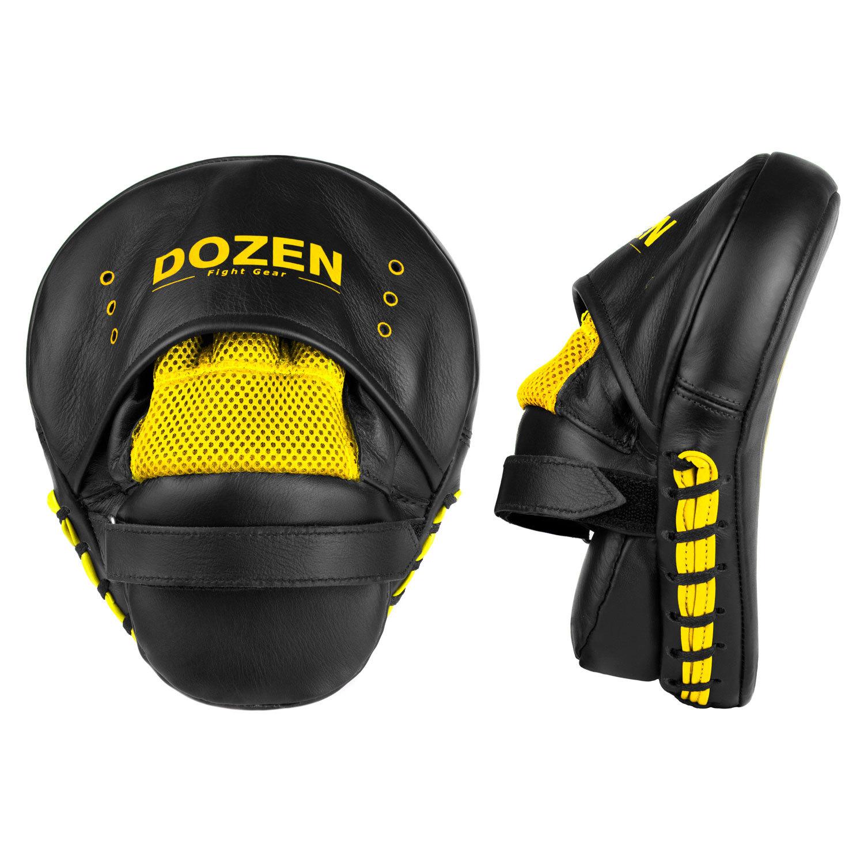 Лапы Dozen Monochrome черно-желтые вид сзади и сбоку