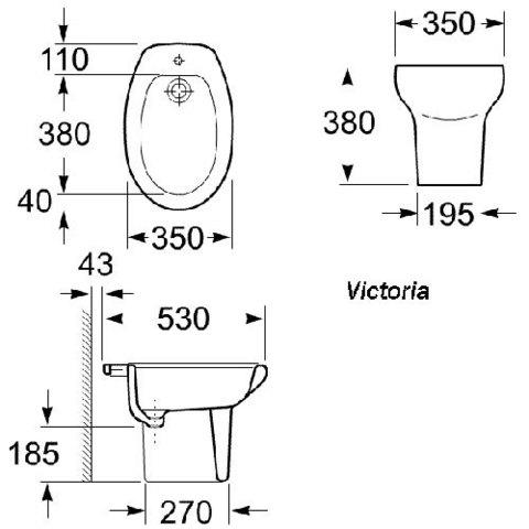 Биде напольное Roca Victoria 357390000 схема