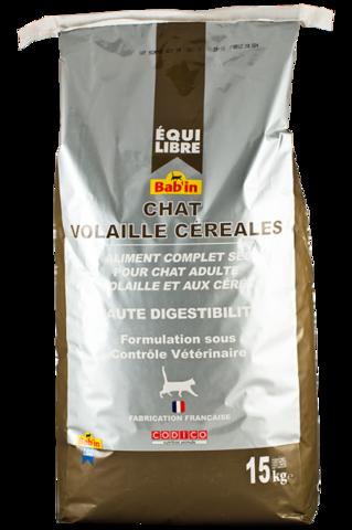 EQUIILIBRE CHAT POULET CEREALES (для взрослых кошек всех пород на основе курицы и зерна, гранулы 5-8 мм, 30/12) 15 кг