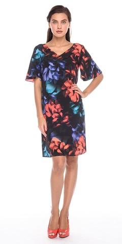 Фото летнее платье с v-образным вырезом и цветочным принтом - Платье З190-591 (1)