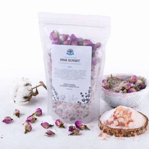 Salt of the Earth, Смесь соли и трав для ванн Pink Sunset (лаванда и чайная роза), 400гр
