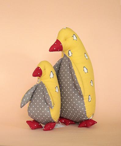 Пингвин желтый, ткань с пингвинами