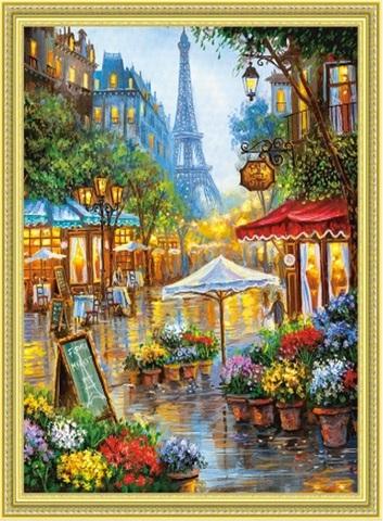 Алмазная Мозаика 40x50 Кафе в Париже (арт. TCH8068)
