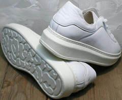 Женские низкие кеды кроссовки на высокой подошве белые Rozen M-520 All White.