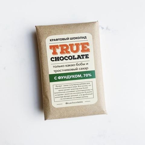 Крафтовый шоколад True chocolate, сорт Гана, с фундуком, 70%