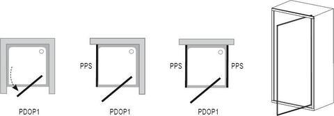 Душевая дверь Ravak Pivot PDOP1-90 белый/белый + транспарент 03G70101Z1 схема