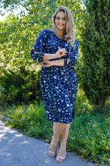 Алевтина. Ніжна сукня великих розмірів. Квіти синій.