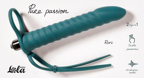 Зеленая вибронасадка для двойного проникновения Rori - 17 см.