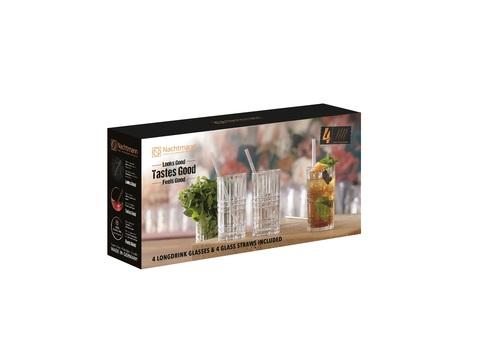 Набор из 4-х бокалов Longdrink 445 мл + 4 стеклянных трубочки + щеточка для чистки артикул 103144. Серия Tastes Good