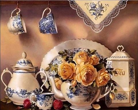 Алмазная Мозаика 40x50 Розы в чайнике (арт. GA74148 )