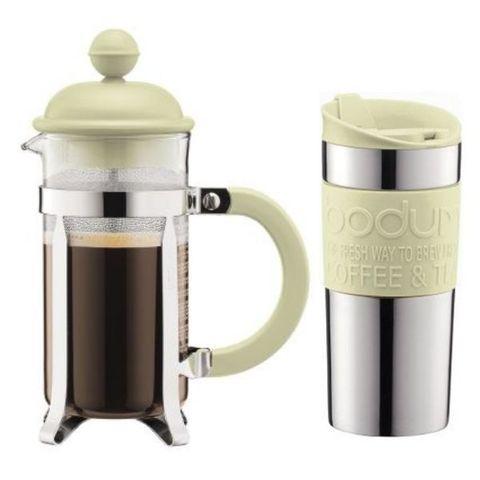 Кофейный набор в подарок мужчине: зелёные термокружка и френч-пресс, кофе
