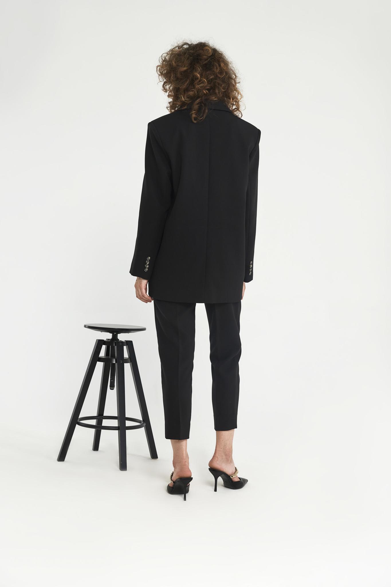 Брюки-дудочки с защипами (костюмный твил), черный