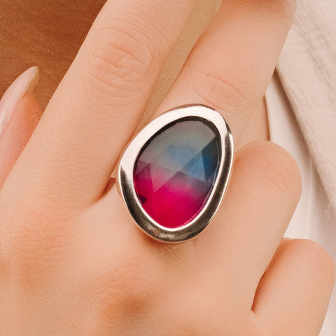 Кольцо Vi Сайма (капля хрусталь розово-голубой)