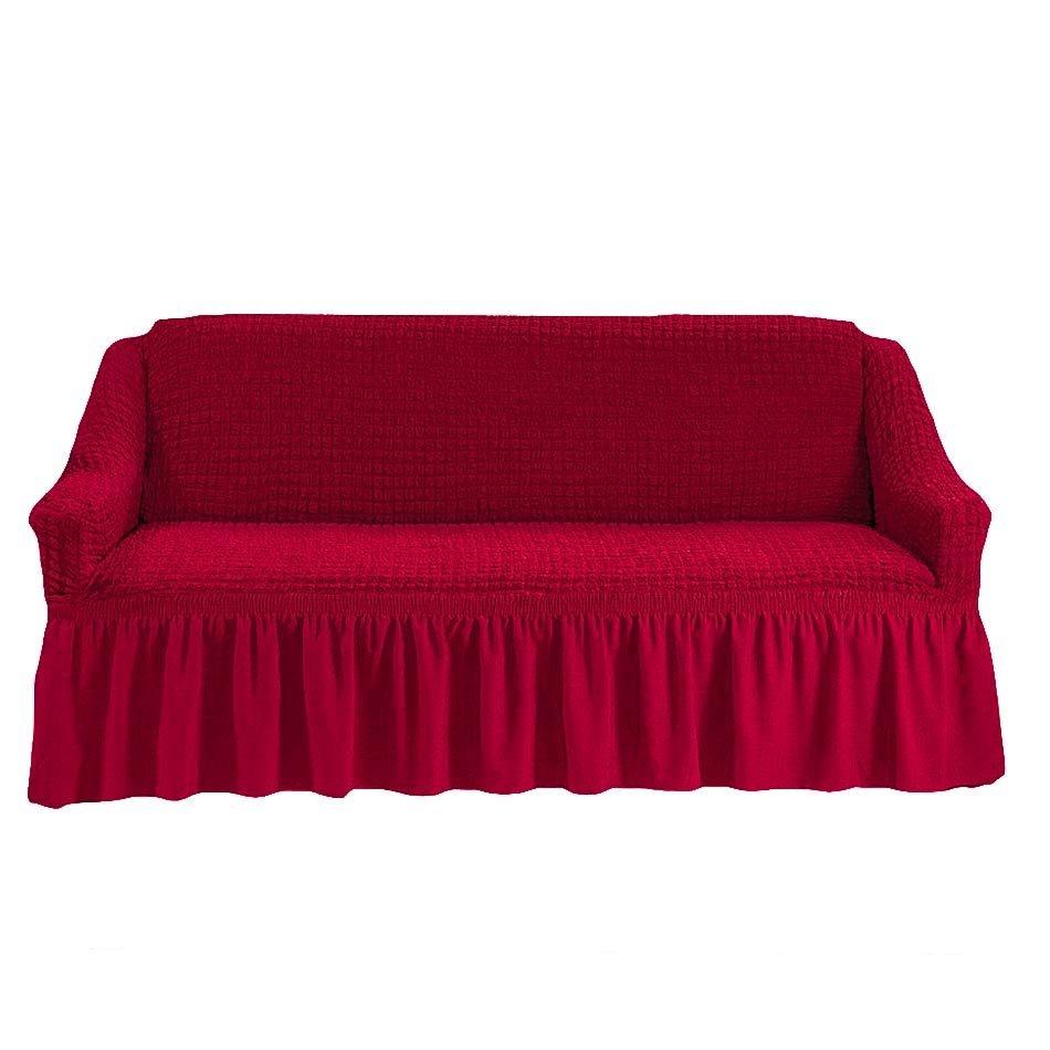 Чехол на трехместный диван, бордовый