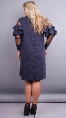 Юнона ангора. Стильна сукня для жінок з пишними формами. Синій меланж.