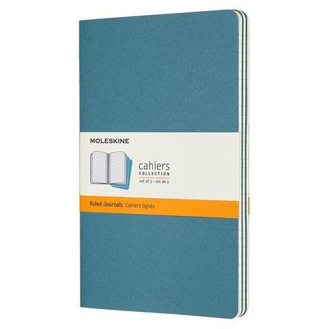 Блокнот Moleskine CAHIER JOURNAL CH016B44 Large 130х210мм обложка картон 80стр. линейка голубой (3шт)