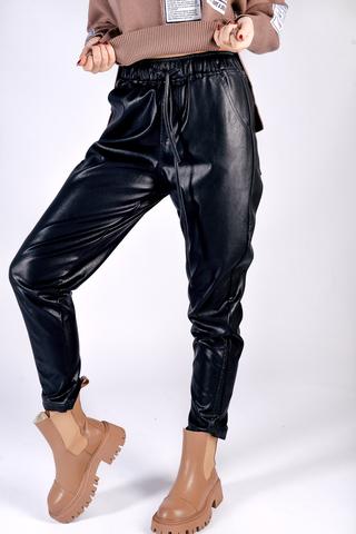 Кожаные штаны со шнуровкой Nadya