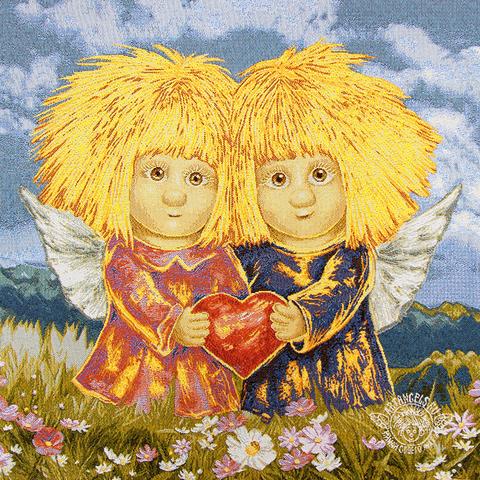 «Ангелы сильной любви» Наволочка гобеленовая 30х30 см