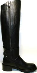 Сапоги женские зимние черные на низком каблуке европейки