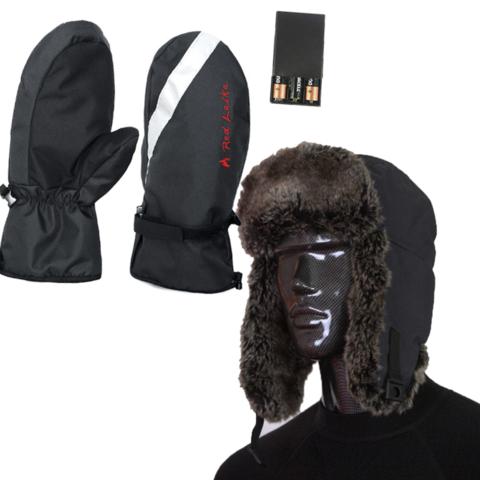 Комплект-подарок шапка с подогревом RedLaika RL-G-AA и Рукавицы RL-R-02 (AA)