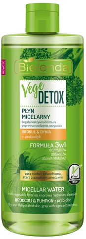 VEGE DETOX Увлажняющая мицелярная вода для сухой кожи, брокколи+тыква+пребиотик, 500 мл